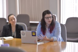 Amy at meeting