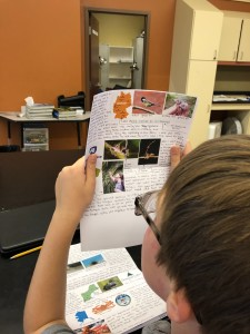 Student reading a science report.
